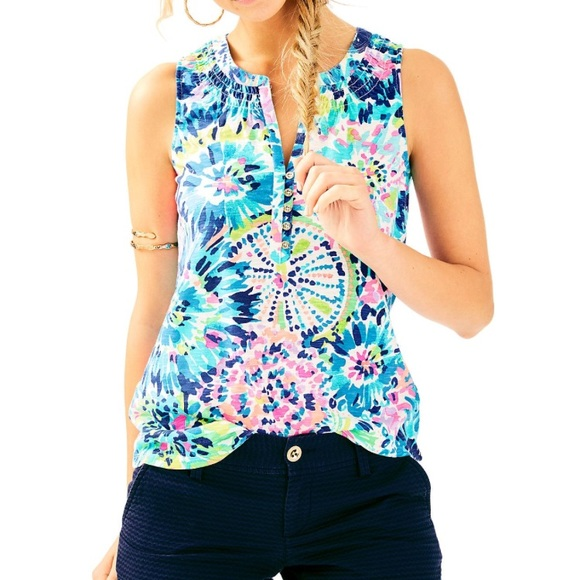 """c83beb9eacf61c Lilly Pulitzer Tops - Lilly Pulitzer Essie top in """"multi dive in"""""""